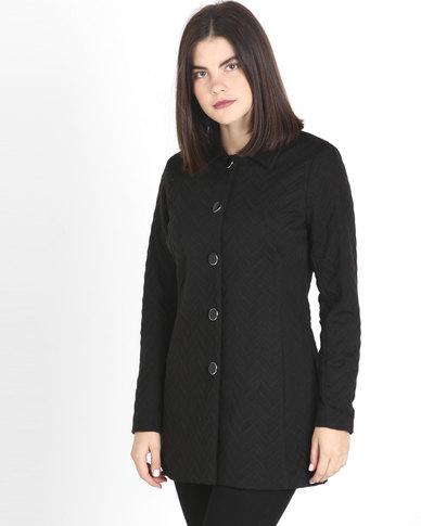 Queenspaek Zigzag Knit Coat Black
