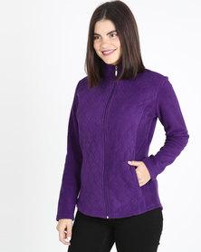 Queenspark Long Sleeve Quilted Zip Through Fleece Jacket Purple