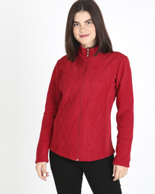 Queenspark Long Sleeve Quilted Zip Through Fleece Jacket Red