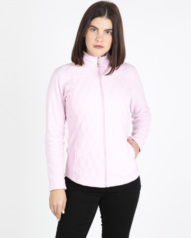 Queenspark Long Sleeve Quilted Zip Through Fleece Jacket Pink