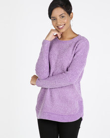 Queenspark Chenille Long Sleeve Crewneck Knitwear Lilac