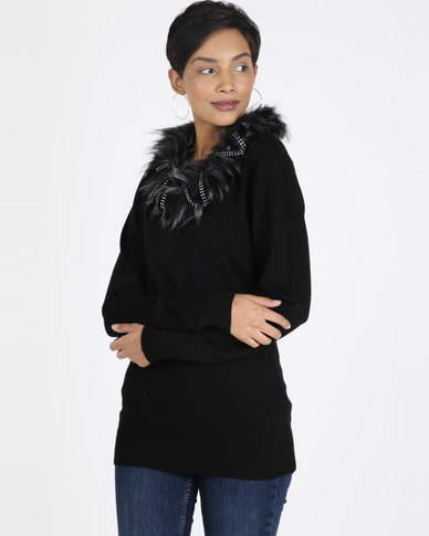 Queenspark Nutcracker Faux Fur Knitwear Top Black