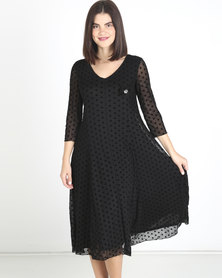 Queenspark Flocked Spot Mesh Fit & Flare Knit Dress Black