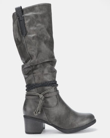 Soft Style Wilda Heeled Mid Calf Boot Grey Burnished