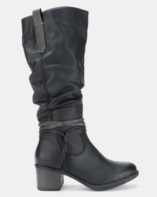 Soft Style Wilda Heeled Mid Calf Boots Black Burnished