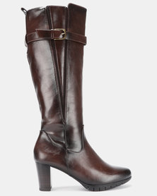 Soft Style Sidney Heeled Long Boots Choc Burnished