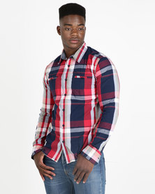 Lee Cooper Pollock Long Sleeve Check Shirt Red/Navy