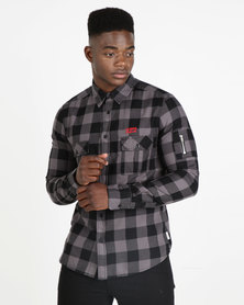 Lee Cooper M Bosch Check Shirt With Zip Detail Black