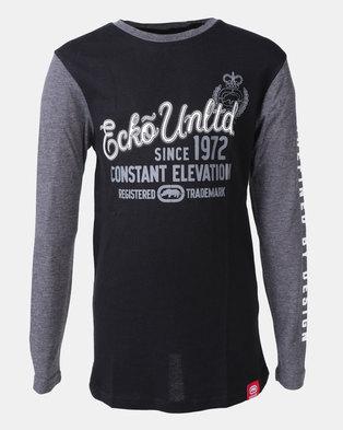 b8e4482fbc08e ECKO Boys Long Sleeve Colour Block T-shirt Black
