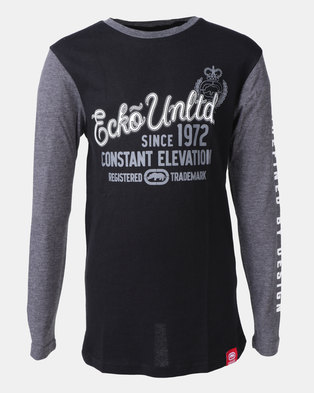 e301a1eedc2a2 ECKO Boys Long Sleeve Colour Block T-shirt Black