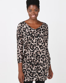 Utopia Animal Cut n Sew Tunic Choc