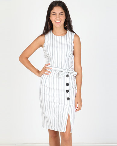 Utopia Stripe Stretch Dress With Buttons White/Black