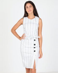 Utopia Stripe Stretch Dress With Buttons White/Navy