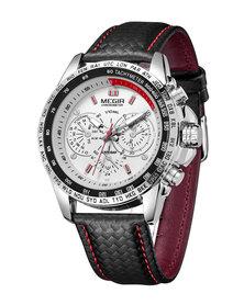 MEGIR Luxury Mens Leather Watch Black