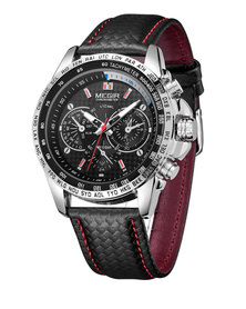 MEGIR Luxury Mens Leather Watch - Black