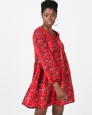Utopia Snake Print Georgette Tunic Dress Red