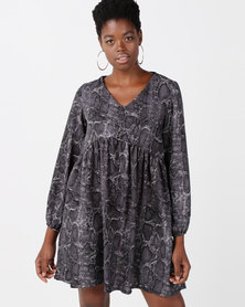 Utopia Snake Print Georgette Tunic Dress Grey