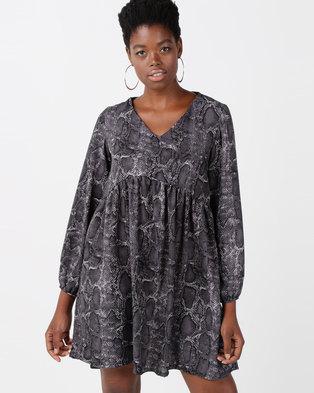 Utopia Snake Print Georgette Tunic Dress Grey