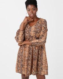 Utopia Snake Print Georgette Tunic Dress Tan