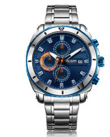 MEGIR 2075 Men's Full Chronograph Watch Silver