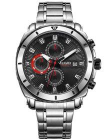 MEGIR 2075 Men's Full Chronograph Watch - Silver