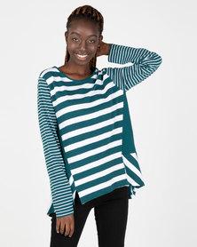 Elm Riveria Long Sleeve Stripe Tee Green & White