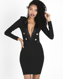 Sissy Boy Boity Deep V Military Dress Black