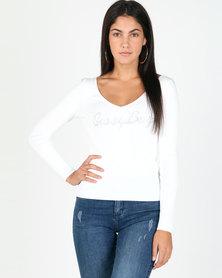 Sissy Boy Logo Knit Top Off White