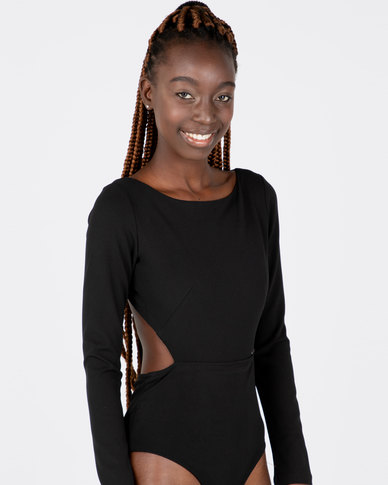 aliexpress scelta migliore migliore Sissy Boy Boity Long Sleeve Open Back Bodysuit Black