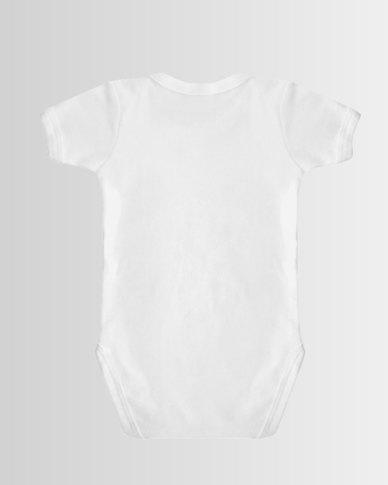 Qtees Africa Unicorn Silhouette White baby grow
