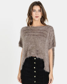 Crave Fluffy Short Sleeve Cropped Knit Taupe