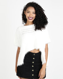 Crave Fluffy Short Sleeve Cropped Knit White