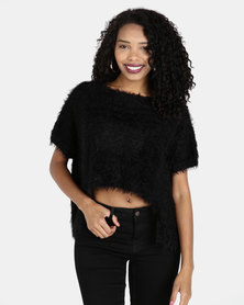 Crave Fluffy Short Sleeve Cropped Knit Black