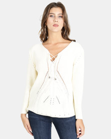 Crave Textured V-Neck Knit Top Off White