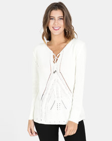 Crave Textured V-Neck Knit Top White