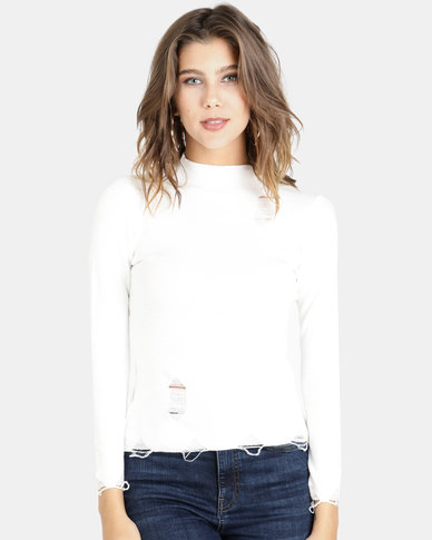 Crave Soft Knit Basic Top Off White