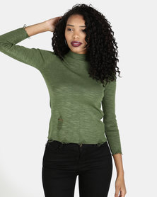 Crave Soft Knit Basic Top Army Green