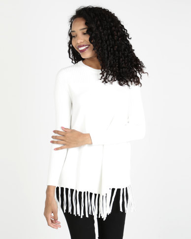 Crave Textured Knit With Fringed Hemline White