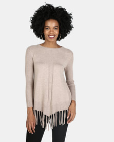 Crave Textured Knit With Fringed Hemline Taupe