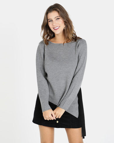 Crave Round Neck Knit Top With Side Lace Up Grey