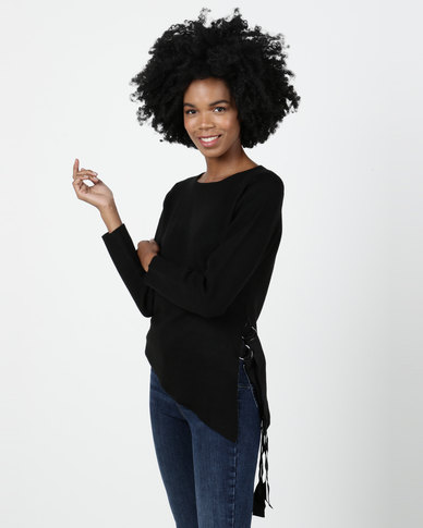 Crave Round Neck Knit Top With Side Lace Up Black