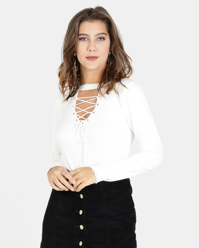 Crave Lace Up Knit Top White
