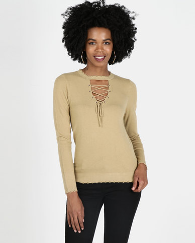 Crave Lace Up Knit Top Brown