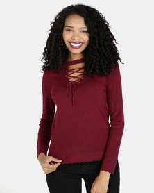 Crave Lace Up Knit Top Burgundy