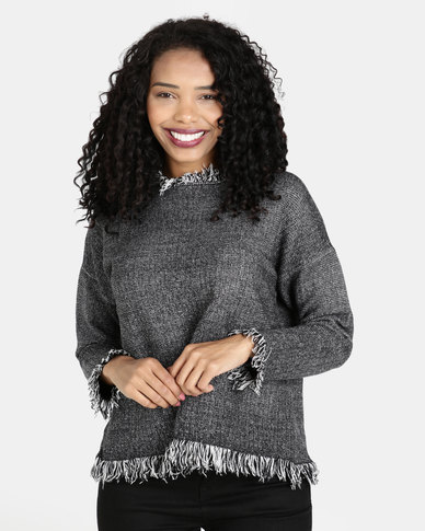 Crave Knit Top With Ruffled Fringed Hemline Grey