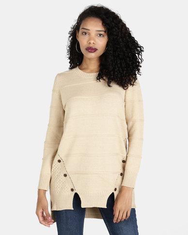 Crave Texture Knit Top With Button Details Beige
