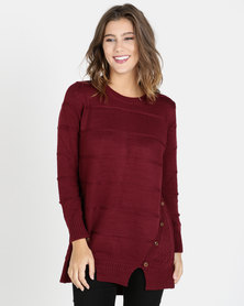 Crave Texture Knit Top With Button Details Burgundy