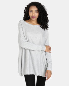 Crave Embellished Boat Neck Knit Top Grey