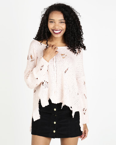 Crave Holy Light Knit Top Pink