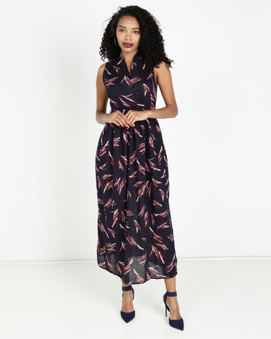 Crave Sleeveless Cotton Maxi Dress Navy/Red